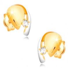 Złote kolczyki 585 - łezka z przezroczystą cyrkonią i białą linią złota
