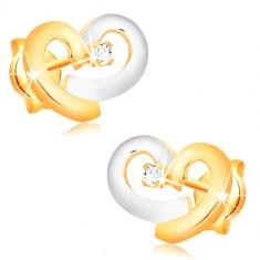 Kolczyki z kombinowanego 14-karatowego złota - serce z żółtego i białego złota, przezroczysta cyrkonia