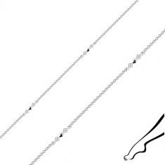Bransoletka na nogę ze srebra 925 - połączone romby, przezroczyste cyrkonie, owalne oczka