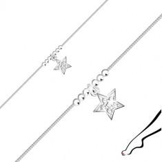 Srebrna bransoletka 925 na nogę - gwiazda z cyrkoniami, błyszczące kuleczki, kwadratowy łańcuszek