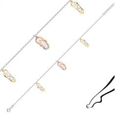 Srebrna bransoletka na nogę 925 - klapki plażowe, owalne oczka, zapięcie typu federing