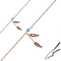 Bransoletka ze srebra 925 miedzianego koloru na nogę - dwa podłużne liście, kuleczka niebieskiego koloru