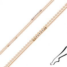 Srebrna bransoletka na nogę - podwójny łańcuszek, cyrkonie, paski, kolor miedziany