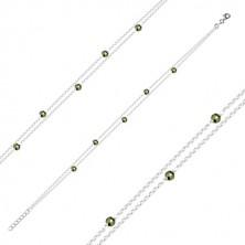 Srebrna bransoletka 925 na kostkę - podwójny łańcuszek, oliwkowo zielone piryty