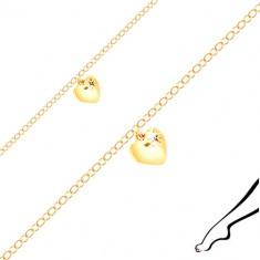 Bransoletka na kostkę ze srebra złotego koloru - lśniące serce, czarna cyrkonia