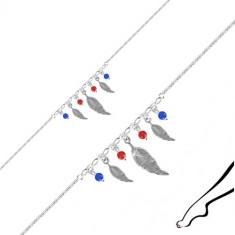 Bransoletka na nogę ze srebra 925 - trzy pióra, cztery kulki w kolorze czerwonym i niebieskim