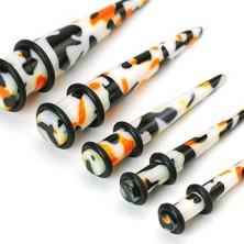 Plug do ucha - biały, czarno-pomarańczowe plamy