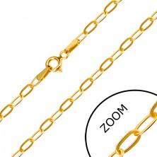 Łańcuszek z żółtego 14K złota - płaskie wydłużone oczka, zapięcie typu federing, 550 mm