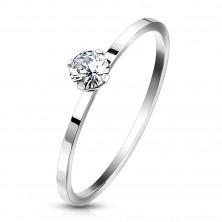Stalowy pierścionek zaręczynowy w kolorze srebrnym - przezroczysta cyrkonia w koszyczku, wąskie ramiona