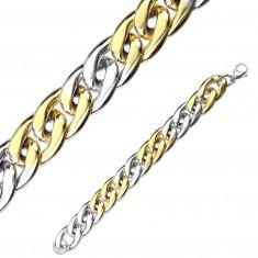 Dwukolorowa stalowa bransoletka - szeregowo połączone owalne oczka, 15 mm