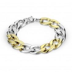 Dwukolorowa stalowa bransoletka - owalne oczka, połączenie szeregowe, 12 mm