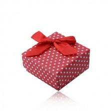 Czerwone prezentowe pudełeczko na pierścionek lub kolczyki, białe kropki, kokardka