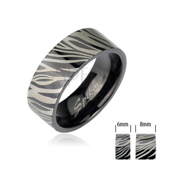Stalowa obrączka - czarna zebra