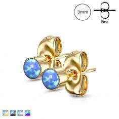 Kolczyki ze stali chirurgicznej - syntetyczny niebieski opal w oprawie, zapięcie na sztyft, 3 mm
