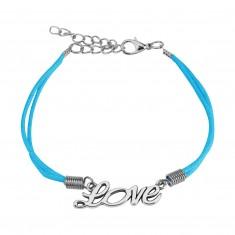 """Jasnoniebieska sznurkowa bransoletka, ozdobny napis """"Love"""" srebrnego koloru"""