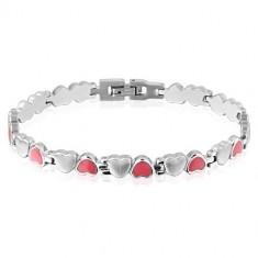 Bransoletka w kształcie serc wykonana ze stali - kolor różowy i srebrny