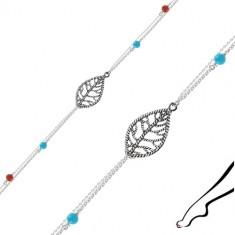 Bransoletka na kostkę ze srebra 925 - liść, podwójny łańcuszek, niebieskie i czerwone kuleczki