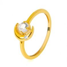 Pierścionek z żółtego 9K złota - półksiężyc z cyrkonią, okrągła cyrkonia w kształcie kaboszonu