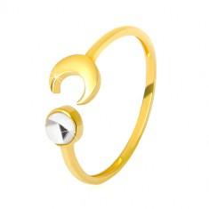 Złoty pierścionek 375 - błyszczący półksiężyc, przezroczysta cyrkonia w kształcie kaboszonu