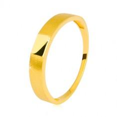 Pierścionek z 14K złota - błyszczący prostokąt pośrodku, ramiona z satynowym wykończeniem, 3,5 mm