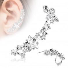 Fałszywy stalowy piercing do ucha w kolorze srebrnym, rodowany - błyszczące przezroczyste gwiazdy