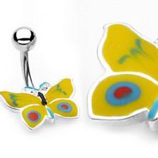 Piercing do pępka żółto-niebieski motylek
