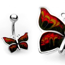 Piercing do pępka - błyszczący motyl