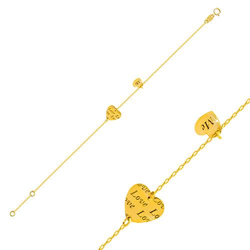 """Złota bransoletka 585 - dwa lśniące serca z napisami """"Love"""" i """"Me"""""""