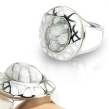 Damski pierścionek ze stali - White Murano