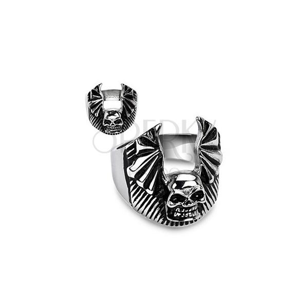 Sygnet ze stali chirurgicznej - czaszka, skrzydła nietoperza