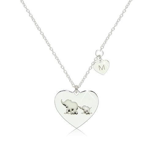 """Srebrny naszyjnik 925 - dwa lśniące symetryczne serca ze słonikami i literą """"M"""""""
