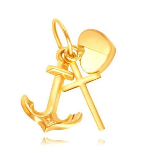 Złota zawieszka 14K - sylwetka lśniącego krzyżyka, kotwicy i wypukłego serduszka