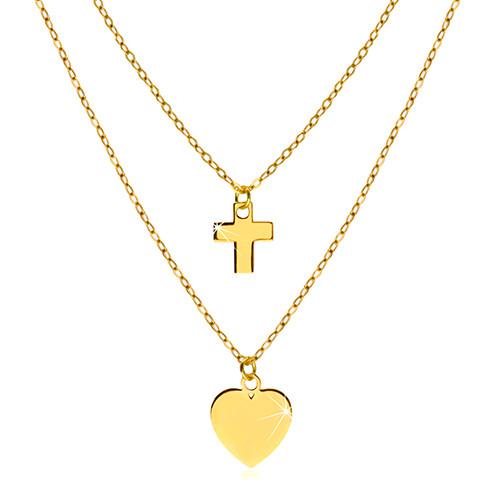Naszyjnik z żółtego 14K złota - lśniące symetryczne serce i kontur krzyża
