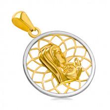 Rodowana złota zawieszka 14K - kontur koła z Matką Boską pośrodku