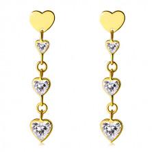 Błyszczące złote kolczyki 585 - lśniące cyrkoniowe serca o przezroczystym odcieniu, płaskie symetryczne serduszko