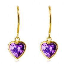 Złote kolczyki wkrętki 585 - cyrkoniowe serce w fioletowym odcieniu w gładkiej oprawce