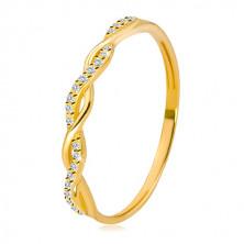 Pierścionek z żółtego 14K złota - dwie splecione linie, okrągłe przezroczyste cyrkonie