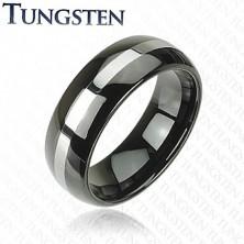 Elegancka wolframowa obrączka - czarny, srebrny pas, 8 mm