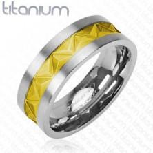 Tytanowa obrączka srebrno - złoty wzór