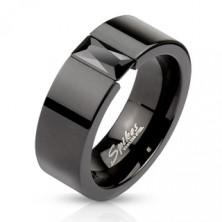 Stalowy pierścień w kolorze czarnym - błyszcząca czarna cyrkonia, 6 mm