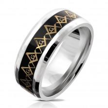 Stalowa obrączka - symbol masonów w złotym kolorze, półprzezroczyste szkliwo, 8 mm