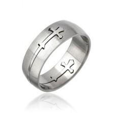 Pierścień ze stali chirurgicznej - wyryty krzyż
