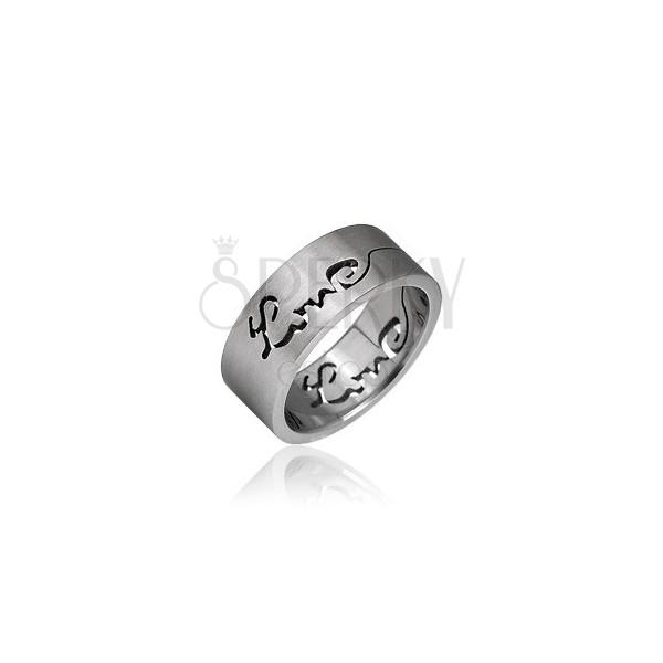Obrączka ze stali nierdzewnej - wyryty napis LOVE