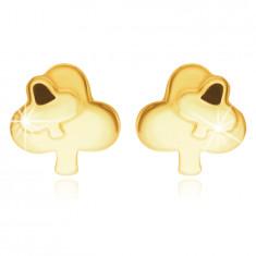 Złote kolczyki 14K - koniczyna ozdobiona mniejszą koniczyną