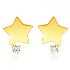 Kolczyki sztyfty z 14K żółtego złota - gwiazda z cyrkonią w bezbarwnym odcieniu