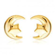 Złote kolczyki 585 - księżyc i pięcioramienna gwiazda