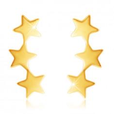 Kolczyki z 9K złota - trzy błyszczące połączone gwiazdy