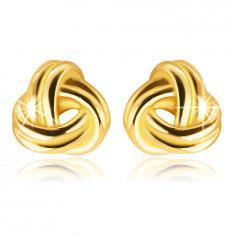 Kolczyki z żółtego 9K złota - lśniący warkocz z trzech podwójnych pasków