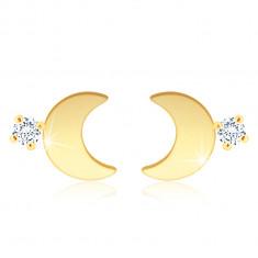 Złote kolczyki 375 - błyszczący księżyc, okrągła cyrkonia w bezbarwnym odcieniu