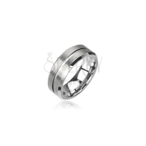Wolframowa obrączka - szlifowany pierścionek srebrny
